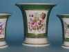 Garniture of Rockingham spill vases